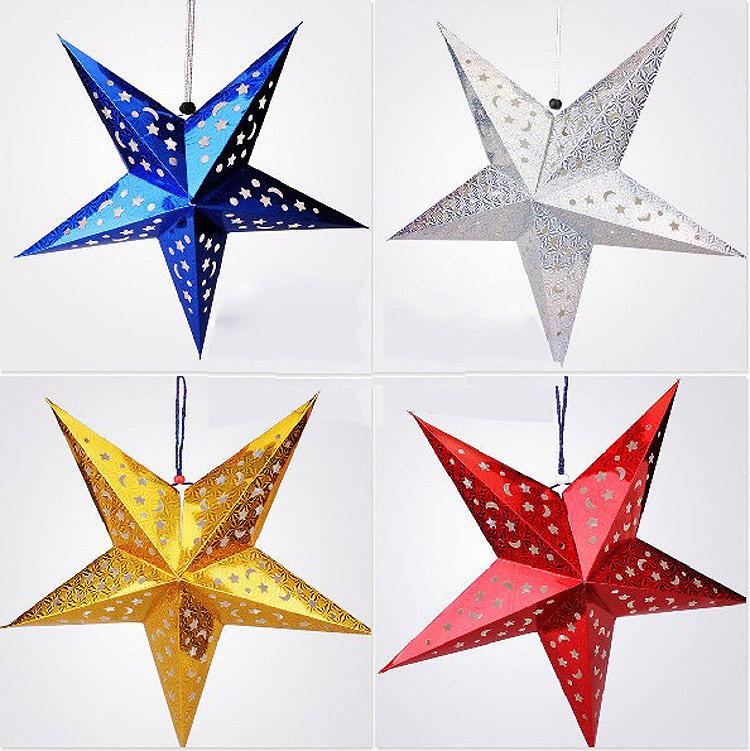 立体镭射镂空圣诞星星吊饰-小比利文具礼赠品